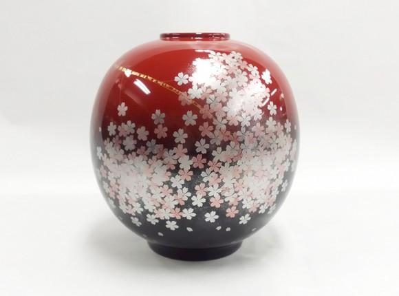 曙 櫻花 球形花器